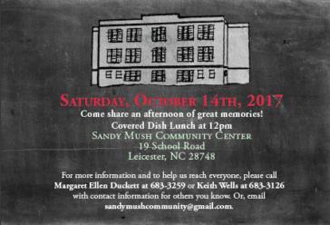 chalkboard invite to Sandy Mush School Reunion
