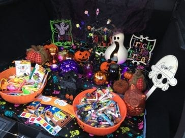 car trunk full of candy for trunk or treat